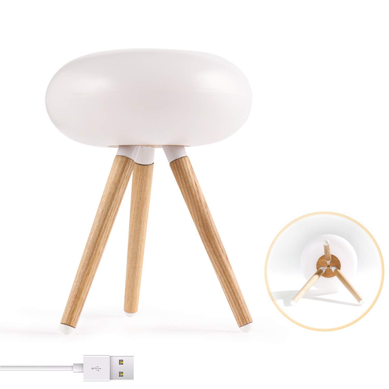 EFGS LED WiFi Smart-Tabellen-Lampe, USB-Gästensteuerung Nachttischlampe Touch-Dimmbare Nachtlicht, Schlafzimmer Arbeitszimmer Leselampe,LightwoodFarbe
