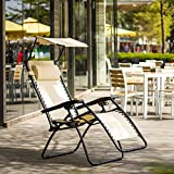 Ollieroo Beige Zero Gravity Canopy Sunshade Lounge Chair with Pillow and Utility Tray Adjustable Folding Recliner Outdoor Patio Chair