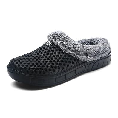 Unsex-Erwachsene Pantoffeln Halbe-Geschlossene Hohl Wärme Leichte Anti-Rutsch Herren Damen Clogs Grau 45 EU Hausschuhe 09l2XtI