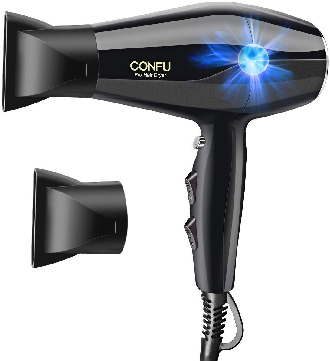 Professional Ionic Salon Hair Dryer, CONFU 1875 Watt Negative Ion Fast Drying Blow Dryer, Ceramic Tourmaline AC Motor Hairdryer with 2 Concentrator Nozzles - Hair Styling and Drying Tool by CONFU