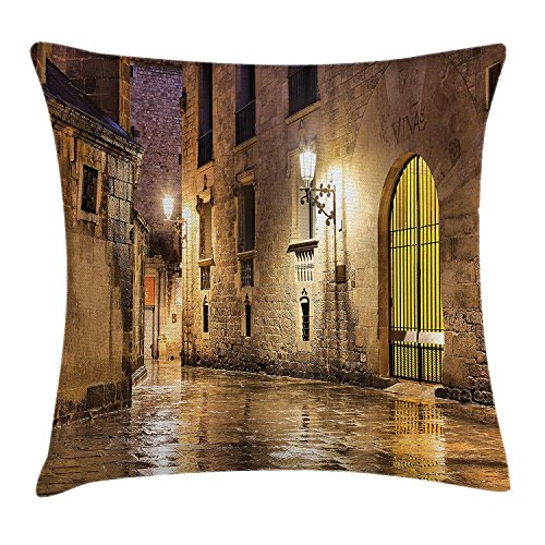 Queen Area Gothic Gothic Ancient Stone Quarter of Barcelona Spain Renaissance Heritage Night Street Photo Square Throw Pillow Covers Cushion Case for Sofa Bedroom Car 18x18 Inch, Cream by Queen Area
