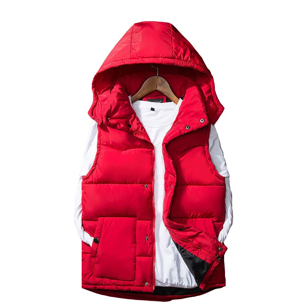 Men Quilted Gilet Padded Puffer Bubble Sleeveless Hooded Jacket Hoodie Waistcoat Hao Run