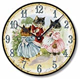 Item C9005 Vintage Style 10.5 Inch Three Kittens Nursery Clock