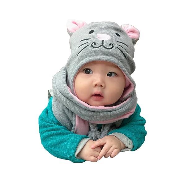 Sombrero y Bufanda del Bebé Niños Niñas, Estwell Invierno Caliente Lindo Gato Gorra de Punto para Bebe Chicos Chicas: Amazon.es: Ropa y accesorios
