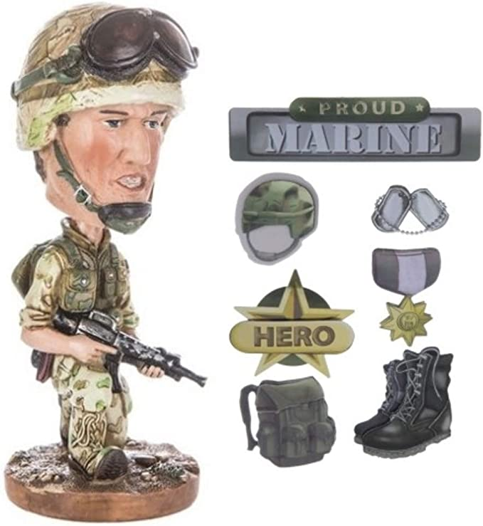 Amazon Com Usmc Military Bobble Head Bobblehead With U S Marines 3 D Stickers Bundle Gift Toys For Boys Veterans Deployments Toys Games