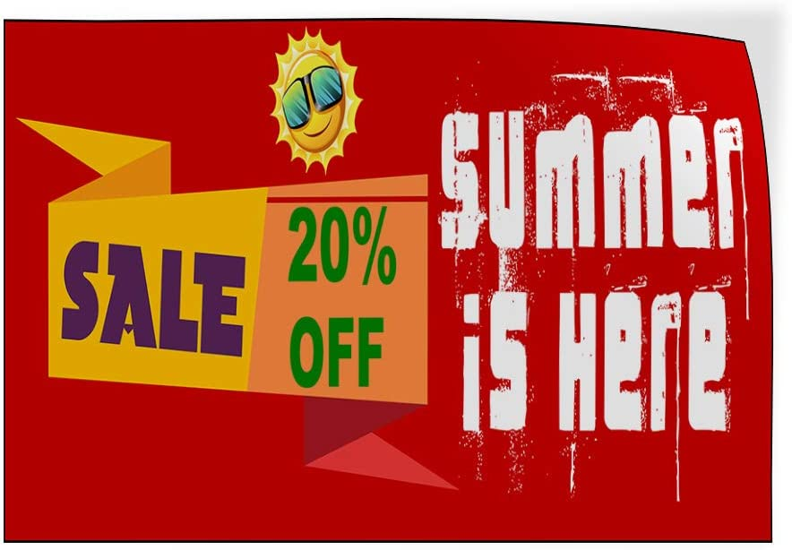 Custom Door Decals Vinyl Stickers Multiple Sizes Summer Spring is Here Business Summer Sale Outdoor Luggage /& Bumper Stickers for Cars Red 36X24Inches Set of 5