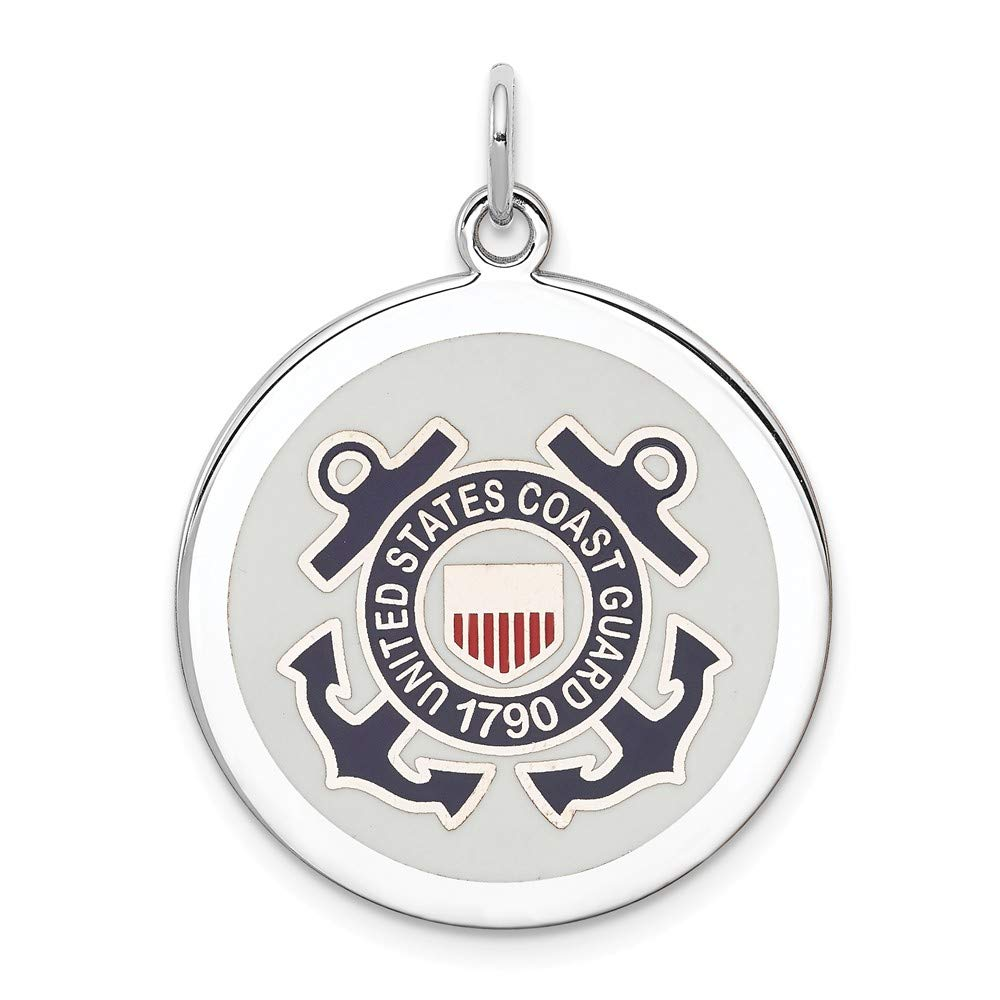 Sterling Silver Jewelry Pendants /& Charms Blue White Red US Coast Guard Disc