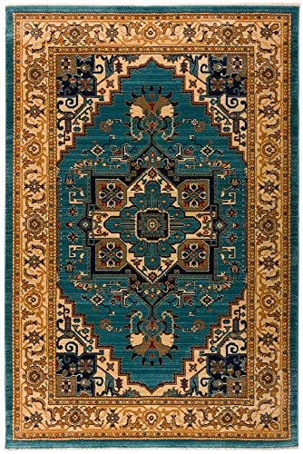 Cheap Antep Rugs Oriental Wave Collection Tabriz Polypropylene Area Rug (Blue/Ivory, 4'1″ x 6′)