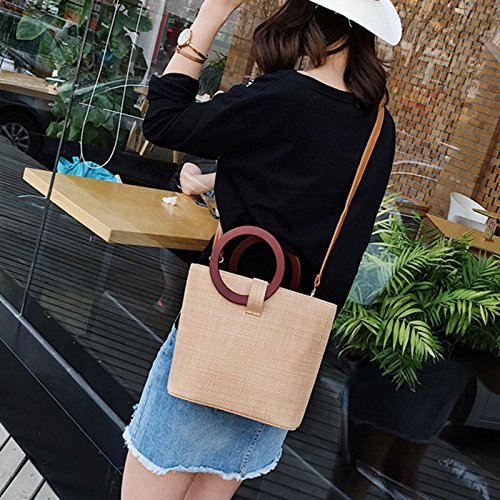 Ring Handbag Travel Straw Lady Fashion Crossbady Shoulder Round Symboat Beach Women Bag YvYq1