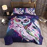 Smile Ropa de Cama para niños Wolf Star Owl Funda nórdica Funda de Almohada Cama Doble Extragrande Cómoda Microfibra,01,EUDouble