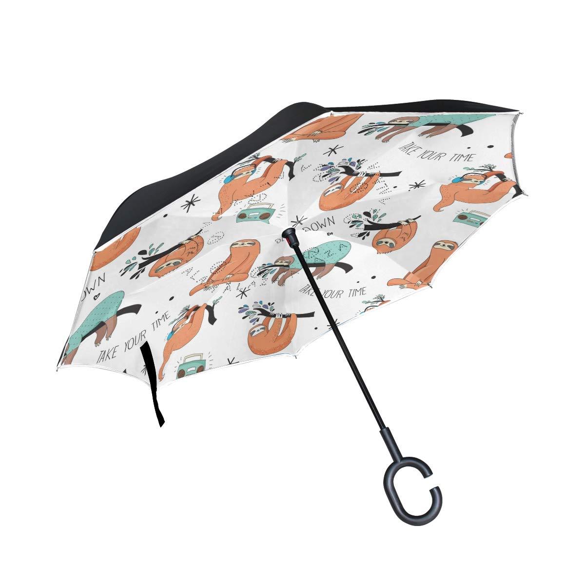 Amazon com : Jojogood Cartoon Sloth Pattern Inverted Umbrella
