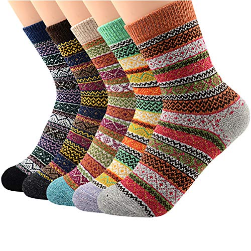 Wool Crew Socks Ankle (Zando Women's Wool Ankle Socks Winter Wool Sock Cozy Cabin Comfy Sock Warm Crew Sock Soft Cashmere Mid Calf Socks 5 Pack - Assorted Stripe 6-11(US))