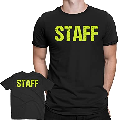 b99032f5a16eaf NYC FACTORY Black Staff T-Shirt Front   Back Print Mens Event Shirt Neon  Yellow