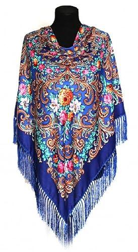 CHALES Y BUFANDAS RUSAS 110x110cm+cepillos 12 cm, mujer,lana80%, viscoas 20%,(Azul)