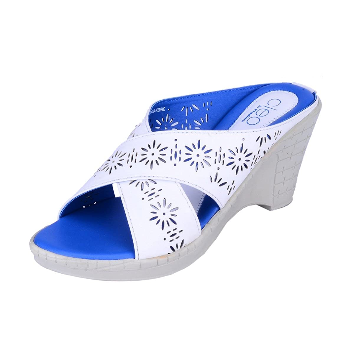 db35b9cd6fad Cleo from Khadims Womens White Faux Leather Heels - 8  Buy Online at Low  Prices in India - Amazon.in