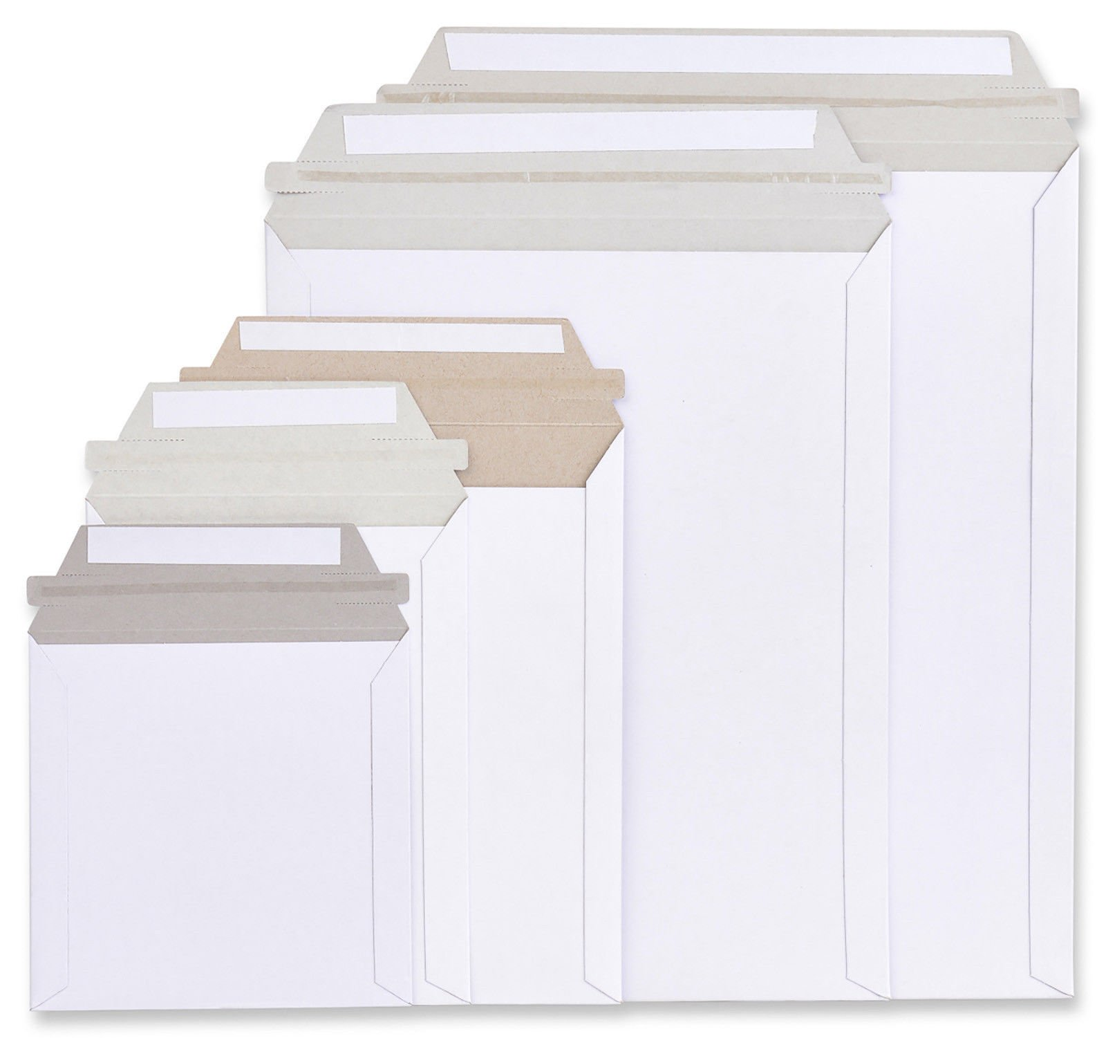 1000 Rigid Mailers 12.75 x 9.5 (12 3/4 x 9 1/2). Self sealing on long side. Paperboard envelopes. Stay Flat. No bend. White Cardboard. Wholesale price in bulk. Sold by case. Mfg# 9x12 / 10x13.