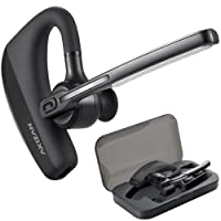 AKIZAN Bluetooth Headset, Wireless Earpiece In-Ear Piece Headphone w/Flip Boom Mic, Noise Canceling, Hands-Free Driving, Blue Tooth Head Set for Cell Phone Compatible w/iPhone Samsung Cellphones