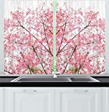 Cherry Kitchen Decor Ambesonne Kitchen Decor Collection, Floral Desgin Sakura Tree Cherry Blossom Japanese Nature Modern Country Home Design, Window Treatments for Kitchen Curtains 2 Panels, 55X39 Inches, White Pink