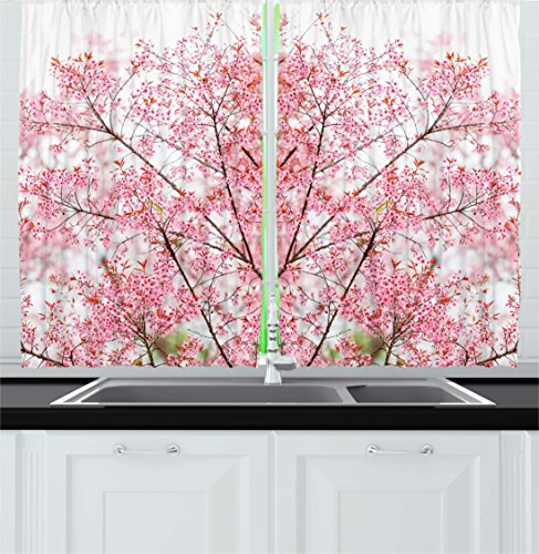 Ambesonne Kitchen Decor Collection, Floral Desgin Sakura Tree Cherry Blossom Japanese Nature Modern Country Home Design, Window Treatments for Kitchen Curtains 2 Panels, 55X39 Inches, White Pink