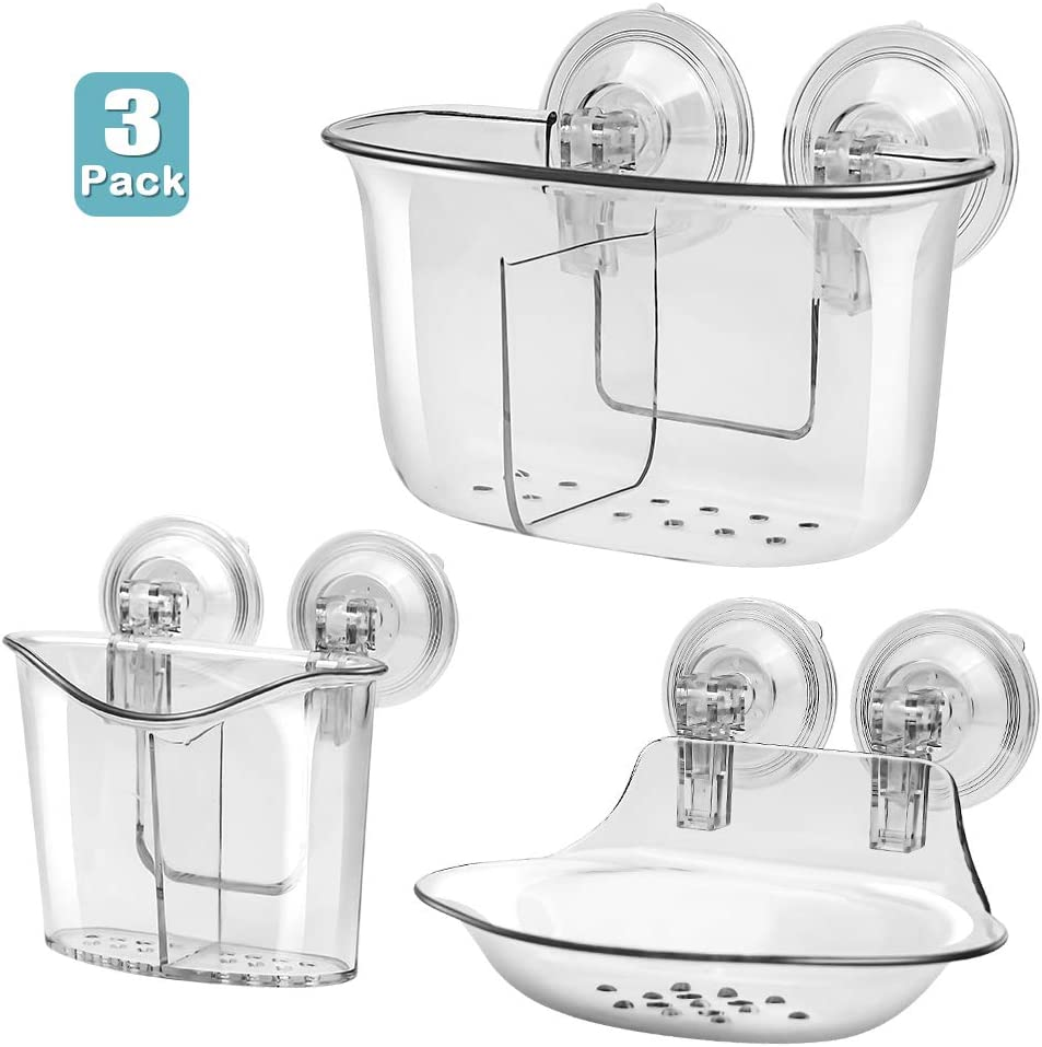 Soyoo Bathroom Non-Fall Down Suction Cup Shower Caddy Soap Toothbrush Holder Drill-Free Removable Wall Mounted Toothpaste Razor Suction Holder Multifunction Storage Organizer for Bathroom /& Kitchen
