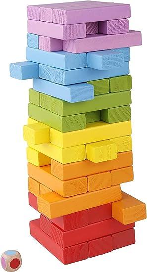 yiqi Tablero de apilamiento de Madera, Juego de Bloques de caída de la Torre de Madera Colorida para niños y Adultos, Juguetes educativos de diversión 48 Piezas: Amazon.es: Juguetes y juegos