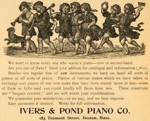 1893 Ad Iver Pond Piano Co. Antique Musical Instruments Children 183 Tremont St. - Original Print Ad from PeriodPaper LLC-Collectible Original Print Archive