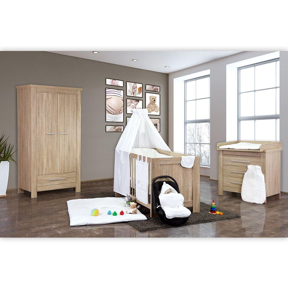 Babyzimmer Enni 4-tlg. in der Farbe Sonoma mit 2 türigem Kleiderschrank