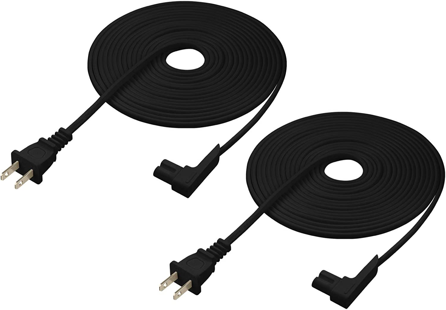 Vebner 16ft 2-Pack Power Cord Compatible with Sonos Play One Sonos Play-1 and Sonos One SL Speaker Extra Long, Black Compatible with Sonos Play One Extra Long Power Cable Cord