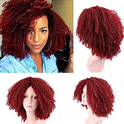 Lady Miranda Red Kinky Curly Wig Middle Part Afro Curly Medium Length Heat Resistant Synthetic Hair Full Wigs For Women