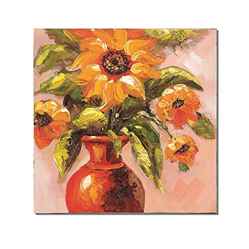 Redland Art Oil Paintings On Canvas Flower Vase Sunflower Artwork Framed Stretched Ready to Hang for Wall Decor (16x16inch)