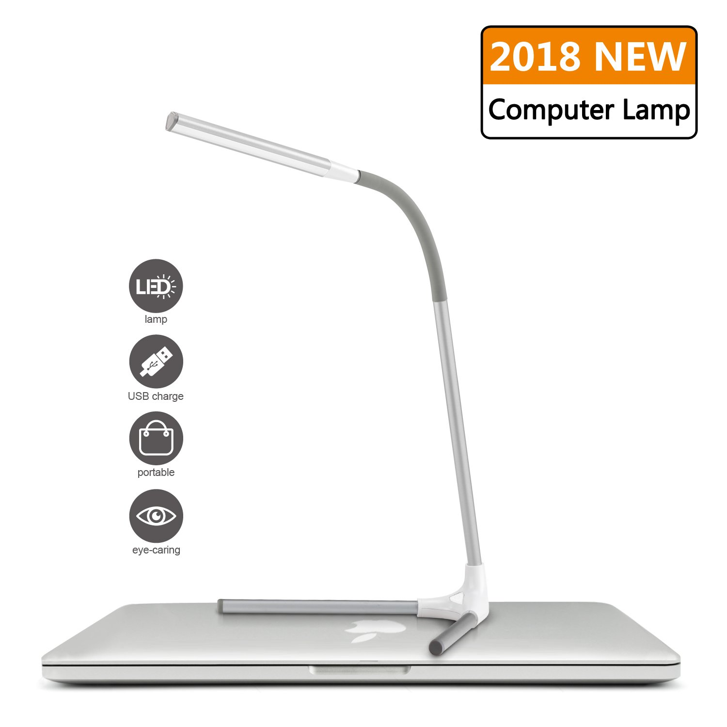 SPECTSUN White Desk Lamp, Detachable & Portable White Table Lamp, Eye-Caring Led Lamp with USB Charging Port, White Lamp/Desk Light/Table Light/Reading Lamp/Computer Desk Lamp/Small Desk Lamp