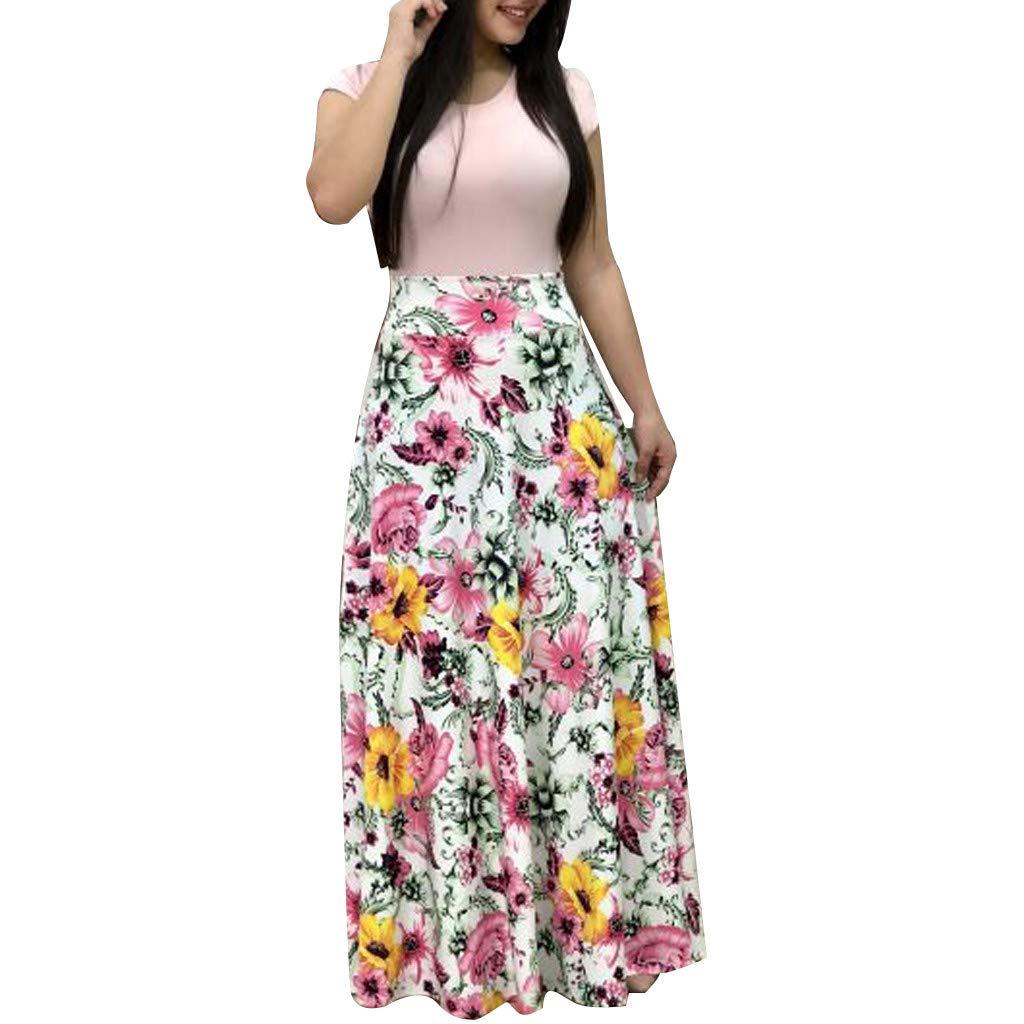 Beikoard Damen Langes Maxikleid mit floralem Boho-Print Casual Kleid Wellenpunkt Lang/ärmliges Kleid Strandkleid Langarm Sommerkleid