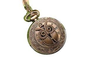 Ancient Bronze Owl pocket watch Necklace