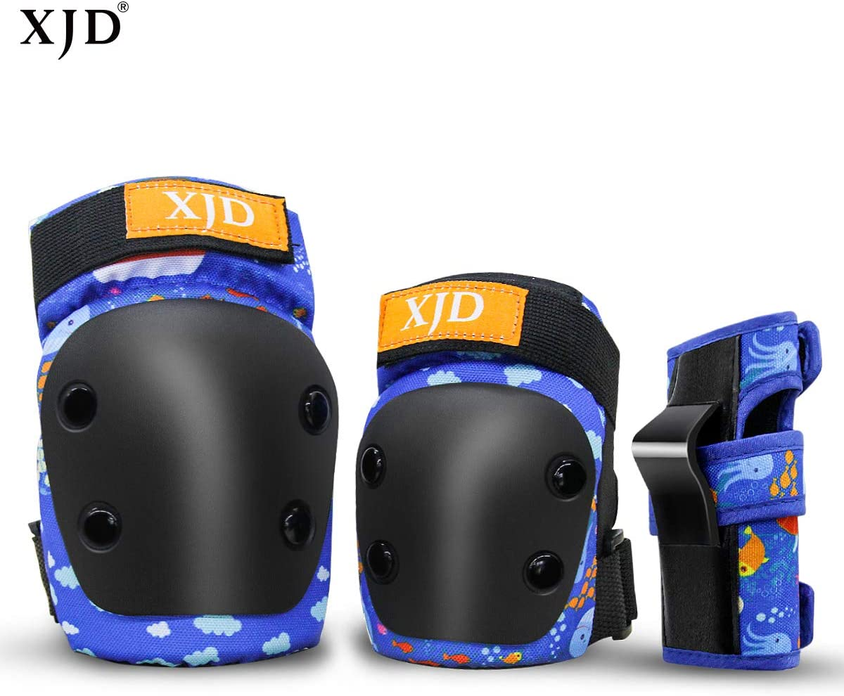 XJD Kids//Youth Knee Pads Elbow Pads Wrist Guards 6 in 1 Child Protective Gear Set for 1-13 Years Old Boys Girls Skateboarding Inline Roller Skating Cycling Biking BMX Bicycle Scooter Multi Sports