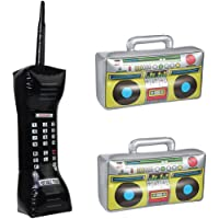 Minelife 3 Pack Inflatable Mobile Phone and Blow Up Radio Boombox, Inflatable Boom Box Fake Inflatable Phone 80s 90s…