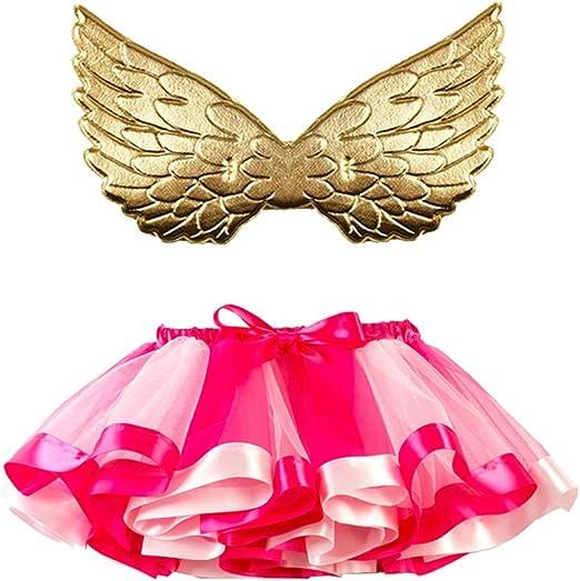 AMOSFUN - Falda de Tul con alas, para bebé, niña, tutú, Disfraz de ...