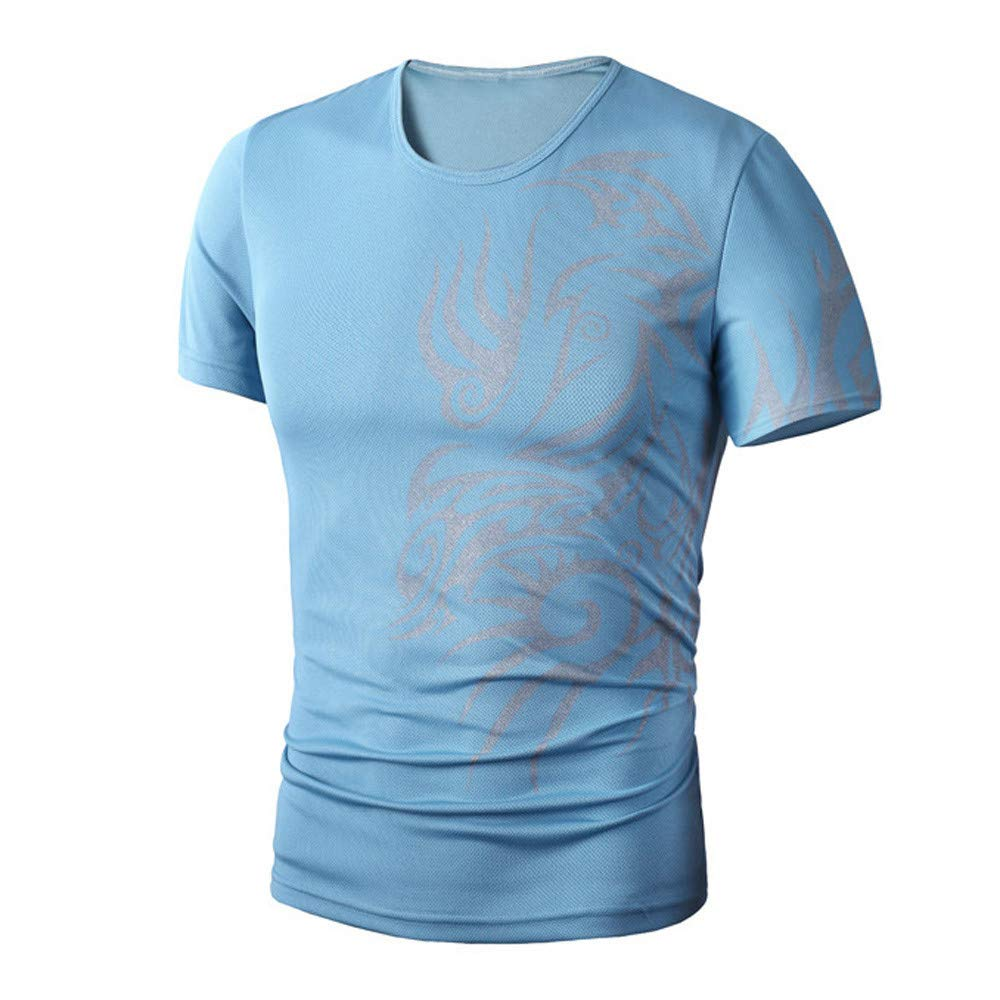 PASATO Men Summer Round Neck Tee Printing Men's Short-Sleeved T-Shirt Top Blouse(Blue,M=US:S)
