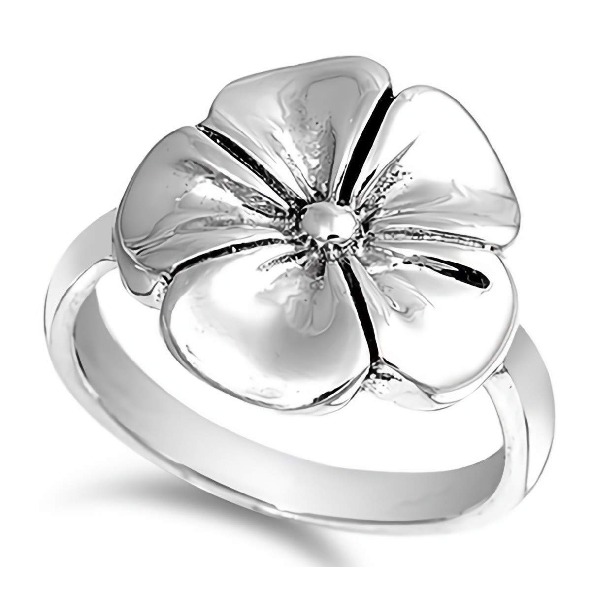 Plumeria Cute Jewelry Gift for Women in Gift Box Glitzs Jewels 925 Sterling Silver Ring