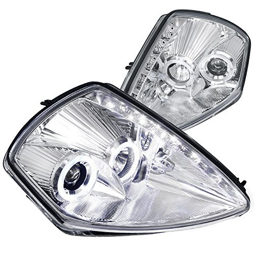 Spec-D Tuning LHP-ELP00-RS Mitsubishi Eclipse JDM Chrome Clear Dual Halo SMD LED drl Projector Headlights
