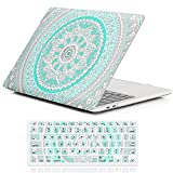 """Macbook Pro 13 Case 2016,iCasso Rubber Coated Hard Shell Protective Case For Newest Macbook Pro 13""""Retina Model A1706/A1708 with/without Touch Bar and Touch ID with Keyboard Cover-Blue&White Medallion"""