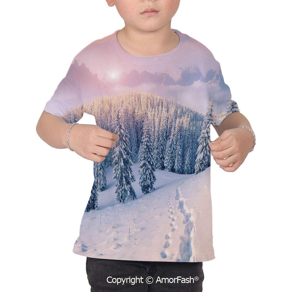 Mountain Original Printed Short Sleeve Shirt Size XS-2XL Big,Idyllic Winter Morn