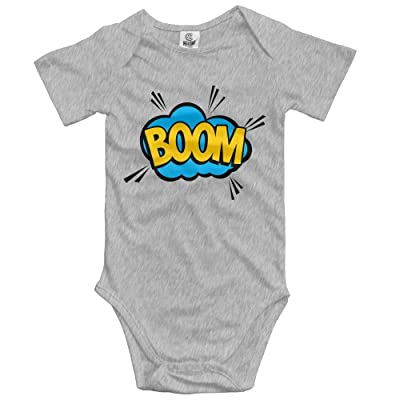 Boom Word Pattern Short Sleeve Baby Girl Clothes One-Piece Bodysuit Jumpsuit Unisex