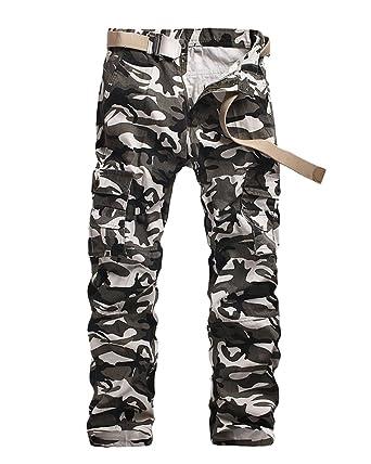 99b852334c47 Quge Herren Camouflage Hose Military Arbeitshose Cargo Casual Pants Militär  Camo Weiß 38