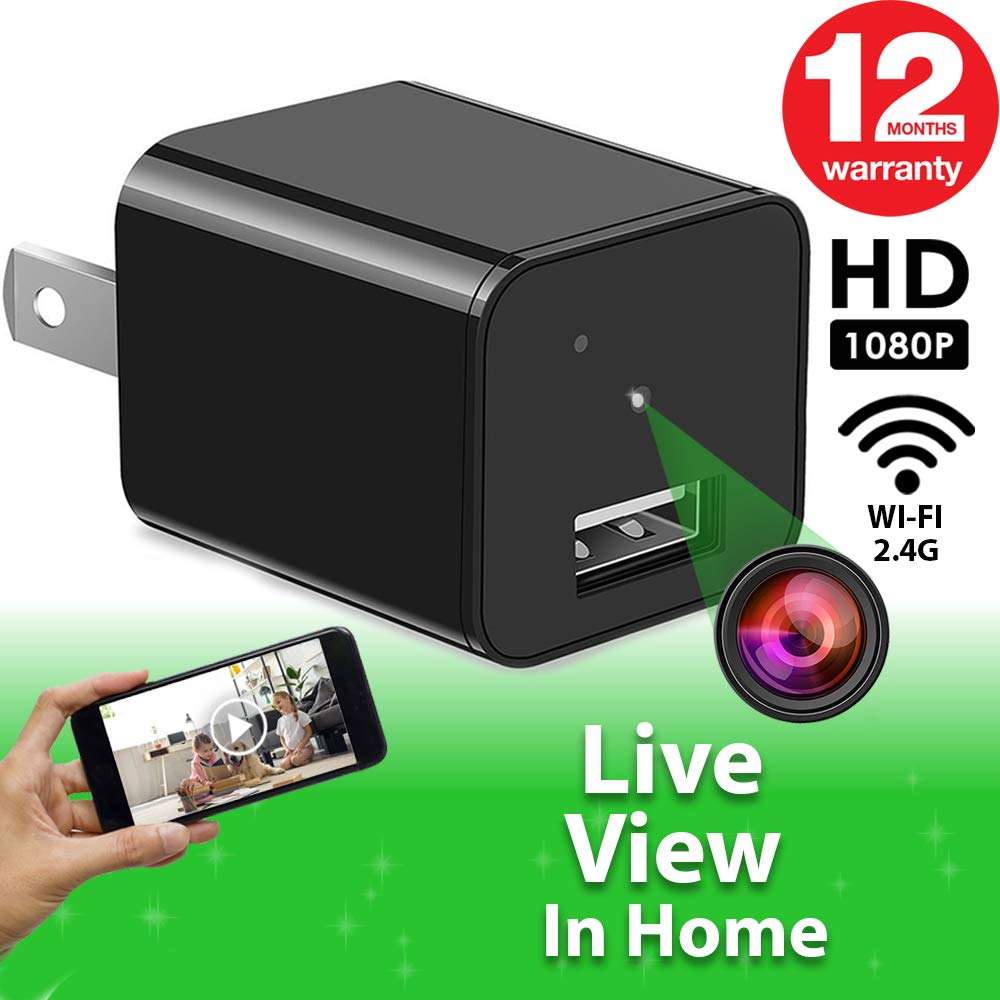 Spy Camera - WiFi Remote View - Hidden Camera - HD 1080P - Premium Wireless Camera - Motion Detection - USB Hidden Camera - Nanny Camera - Best Spy Camera Charger - Hidden Camera Charger - iOS Android by ALPHA TECH
