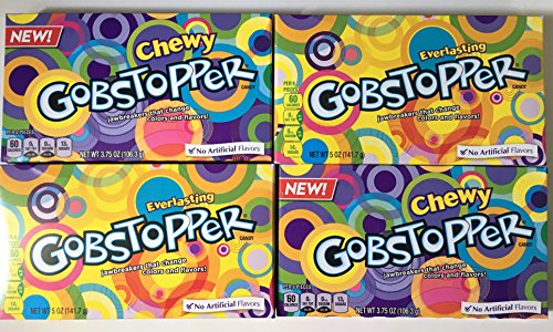 Everlasting Gobstopper 5 Ounce & Chewy Gobstopper 3.75 Ounce Movie Theater Box Bundle ( Pack of 4 )