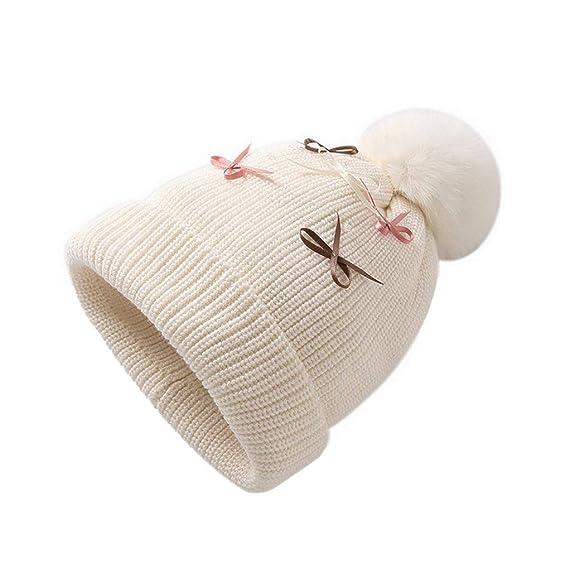 ACMEDE Enfants Fille Bonnet avec Arc pour l hiver, Mignon Pompon Beanie  Chapeau Tricoté 6fe177614037