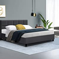 Double Bed Frame, Fabric Upholstery Bed Base, Charcoal