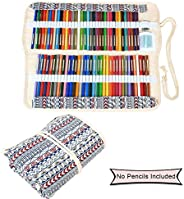Damero Canvas Colored Pencils Wrap, Roll up Pen Holder Case with Zipper Pouch for Accessories, Cute and Multi-