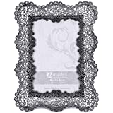 Malden International Designs 5369-46 Sabella Lace Metal Picture Frame, 4x6, Prata