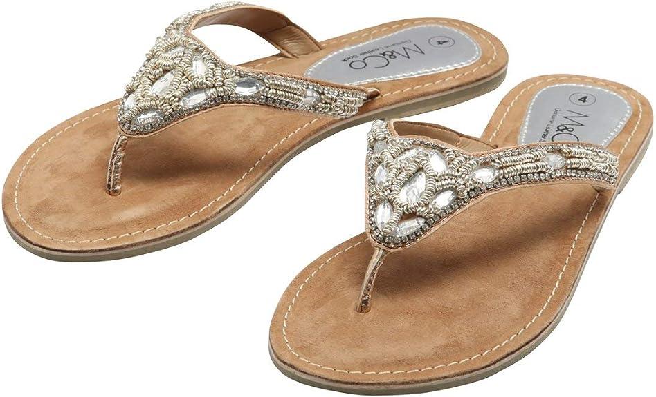 M\u0026Co Ladies Embellished Flip Flop Slip